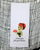 I Love You for your Brains Zombie Pin Up Girl 100% Cotton Kitchen Towels