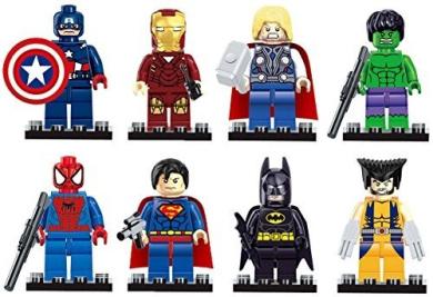 GRHOSE Iron Man Spiderman Superman Batman Hulk Wolverine 8 Mini Figures Set Lego Fit
