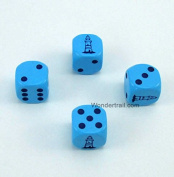 Lighthouse Dice D6 Blue Opaque with Black Pips 16mm (5/8in) Set of 4 Dice Koplow Game WKP11667E4