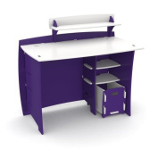 Legare Kids 110cm . Desk with Shelf and File Cart - Purple and White