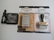 Ranger Tim Holtz Distress Rubber Stamp Ink Pad with Re-inker refill ink bottle Black soot & Inkssentials Ink Blending tool with 10 ink blending tool foam refills replacement Bundle