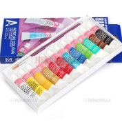 Basics 12 Pieces Mulit Colour Acrylic Peinture Acrylique Paint Tube Draw Drawing Painting Box Set Kit with Brushes , Ships from CA, USA.