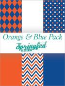 ORANGE & BLUE THEME PACK #1 of Pattern Craft Vinyl Pack Scrapbook Supplies