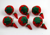 CHENGYIDA 6- PACK Tomato Pin Cushion with Strawberry Emery for Sewing
