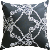 Silver Sequins Embroidery Decorative Pillow COVER 46cm Silver Black