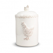 Pfaltzgraff Antiqued Hen Large Canister - White
