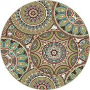 Universal Rugs 1018 Deco Round Transitional Area Rug, 1.5m, Multicolor