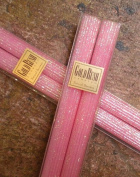 20cm Natural Beeswax Glitter Candles, Pink Blossom Colour, Boxed Set of 2
