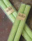 20cm Natural Beeswax Glitter Candles, Lime Colour, Boxed Set of 2