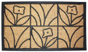 J & M Home Fashions Light Daisy Natural Coir and Rubber Doormat, 46cm by 80cm