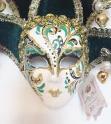 Green Black Jollini Miniature Ceramic Venetian Mask