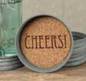 "Colonial Tin Works, Mason Jar Lid Coasters ""Cheers"""