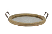 Stonebriar Round Rustic Wood Tray with Distressed Mirror