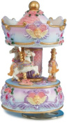 """MusicBox Kingdom 14138 Carousel with Angel Bust Music Box Playing """"Blue Danube"""""""
