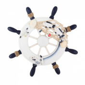 UniqueBella Nautical Mediterranean Style Nordic Wooden Boat Wheel Colour Blue and White