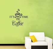 Dnven (Black 38cm w X 36cm h) It's Coffee Time for Coffee Home Vinyl Wall Decals Quotes Sayings Words Art Decor Lettering Vinyl Wall Art