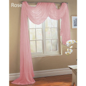 Rose Baby Pink Scarf Sheer Voile Window Treatment Curtain Drapes Valance