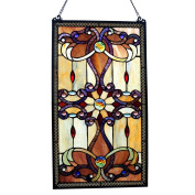 River of Goods 13270 Tiffany Style Stained Glass 70cm High Amber Medallion Window Panel
