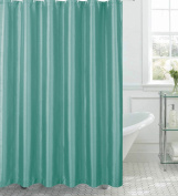 CHI Creative Home Ideas Jane Faux Silk Shower Curtain with Metal Roller Hooks, 180cm by 180cm , Aqua