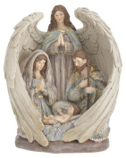 Winged Angel Holy Family 28cm Resin Stone Christmas Nativity Figurine