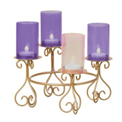 21cm Advent Votive Holder W/Glass Chimneys Without Batteries Candles by Roman