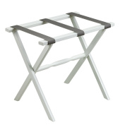 White Straight Leg Luggage Rack with Silver Straps