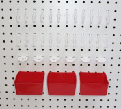 Peg Hook Kit 34 Piece 12 J Hooks & 12 L Hook & 6 Tool Holders & 04 Small Plastic Bins. Peg Board Storage System