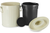 Chef's Star 2 in 1 Carbon Steel Premium Compost Bin with Plastic Inner Pail - 1.9l - White
