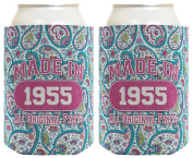 60th Birthday Gift Coolie Made 1955 Can Coolies 2 Pack Can Coolie Drink Coolers Coolies Paisley