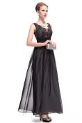Lace Top Chiffon Evening Dress - Black size 14