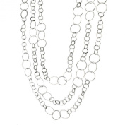 Sterling Silver Flat, Round Circle Links Long Necklace Italy