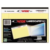 WIDE Landscape Format Writing Pad, 8 x 6, Canary, 40 Sheets, 1/Pad, Sold as 1 Pad, 40 Sheet per Pad