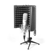 Pyle PSMRS08 Compact Microphone Isolation Shield, Studio Mic Sound Dampening Foam Reflector