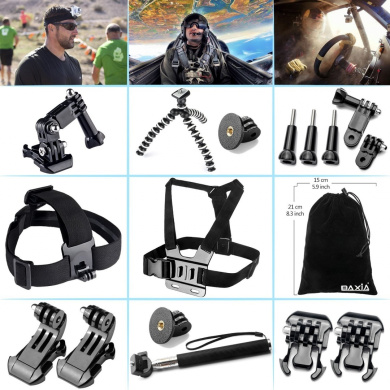 BAXIA TECHNOLOGY GoPro Accessories for GoPro HERO 4 3+ 3 2 Black Silver GoPro Camera Accessory Kit GoPro Accessory Kit GoPro Accessories Bundle Kit for GoPro 4 3+ 3 2