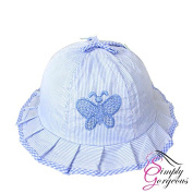 Cute Baby Girls Toddlers Stripes & Butterflies Summer Sun Hat Bonnet Embroidered Age 3- 24 Months - Blue