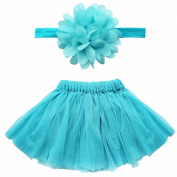 TiaoBug Newborn Baby Girls Tutu Skirt Flower Headband Photo Props Costume Outfits