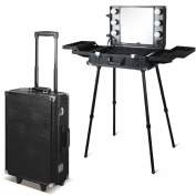 BF Black Rolling Makeup Case Salon Cosmetic box Organiser Trolley With Aluminium Poles CODE