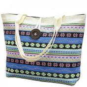 LeBen Women Ladies Canvas Striped Summer Holiday Tote Shopping Handbags Satchel Shoulder Bags