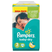 Pampers Baby Dry Size 3 Midi 4-6kg Giga Pack 136 Nappies