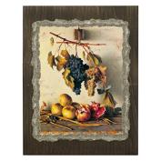 Ars Martos Reproduction Art Natura Morta Uva e Melagrana [Still Life with Grapes and Pomegranates] Fresco on Plaster Width 35 cm Height 40 cm