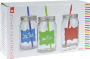Set of 3 0.5Lt Cocktail Party Drinking Glass Jar Tumbler with Chalk, Lid & Straw