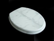 ADOB Toilet Seat Stainless Steel Hinges - White Marble 83080