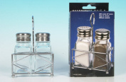 Set of Clear Glass Salt and Pepper Shaker & Chrome Holder Stand