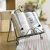 Vintage French Style Antique Brown Wrought Iron Recipe Cook Book Holder Stand - An Ideal Gift For A Cook Or A Baker - W29 x H34.5 x D7.5cm