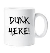 Dunk Here Mug Biscuit Dunker Cup Gift Novelty Ceramic Gift