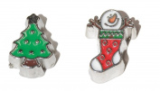 Christmas - 2 set of charms Christmass Tree and Snowman in stocking - fits living memory lockets