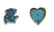 New Born Baby Boy - 2 set of charms Feet in Heart and It's a Boy - fits living memory lockets
