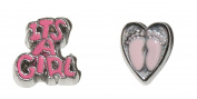 New Born Baby Girl - 2 set of charms Feet in Heart and It's a Girl - fits living memory lockets