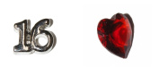 16th Birthday set of 2 Floating charms - Silver Coloured 16 and red heart - fits living memory lockets