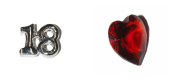 18th Birthday set of 2 Floating charms - silver coloured 18 and red heart